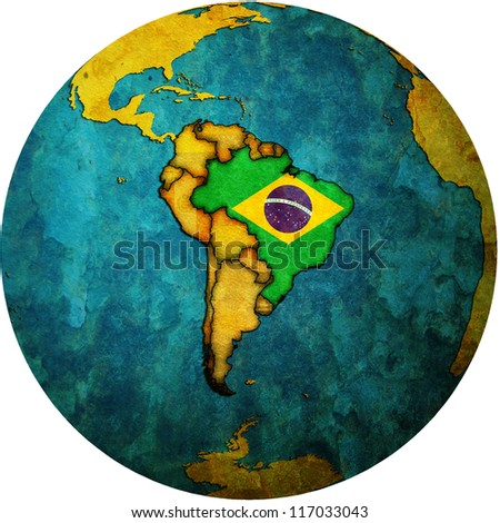 map with flag of brazil on isolated over white map of globe - stock photo