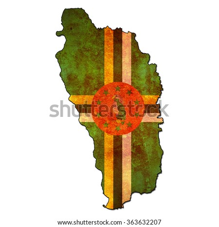 map with flag of dominica with national borders - stock photo