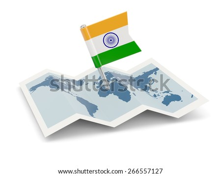 Map with flag of india isolated on white - stock photo