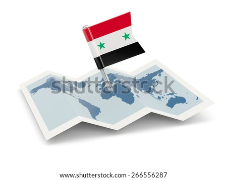 Map with flag of syria isolated on white - stock photo