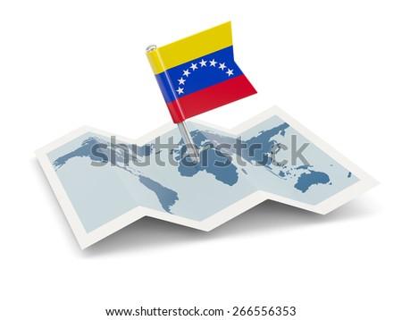 Map with flag of venezuela isolated on white - stock photo