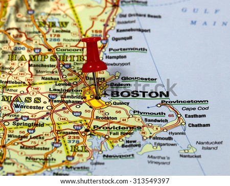 map with pin point of boston in usa - stock photo