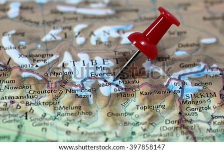 Map with pin point of Mount Everest in Nepal - stock photo