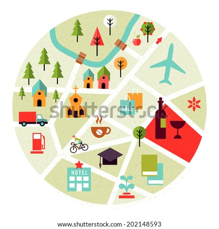 map with places icons. Trees, houses and roads - stock photo