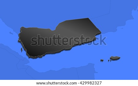 Map - Yemen - 3D-Illustration - stock photo