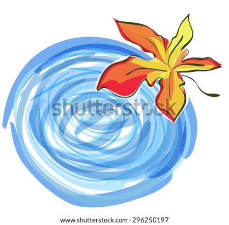 Maple leaf and Rain Puddle. Autumn Symbol Raster Illustration - stock photo