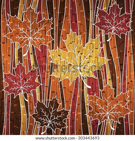 Maple leaf decorative pattern - Abstract autumn leaves - Waves decoration - Interior wallpaper - Gift wrapping paper - seamless background - wood texture - stock photo