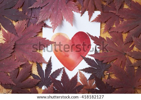 Maple leaves and heart picture - stock photo