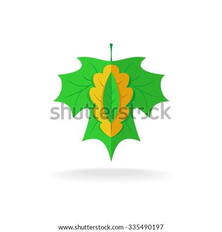 Maple, oak and ash tree leaves logo - stock photo