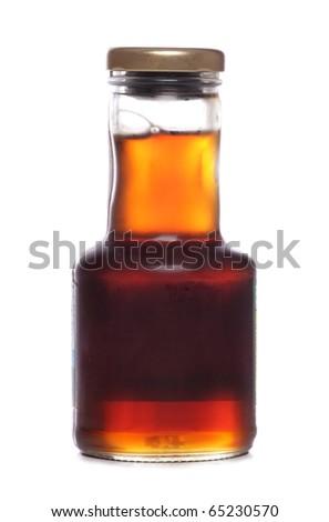 Maple syrup jar studio cutout - stock photo