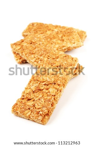 Maple syrup - oats  biscuit on a white background - stock photo
