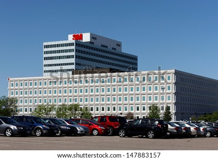 MAPLEWOOD, MN � MAY 31: The 3M World Headquarters complex on May 31, 2013. 3M is an American multinational conglomerate corporation primarily known for adhesive related products. - stock photo