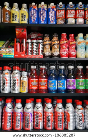 MAPLEWOOD, NJ - APRIL 12, 2014: Bottles of health and energy drinks in a supplement store in Maplewood, New Jersey. - stock photo