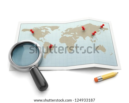 Maps and navigational charts. Map and magnifying glass search for the place - stock photo