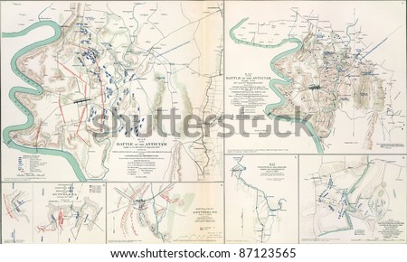 Maps of the battlefield  of Antietam, 1862  from Atlas to Accompany the Official Records of the Union & Confederate Armies, 1861 - 1865 - stock photo