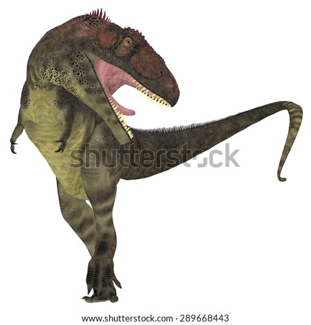 Mapusaurus Predator - Mapusaurus was a giant carnivorous theropod dinosaur that lived during the Cretaceous Period of Argentina. - stock photo