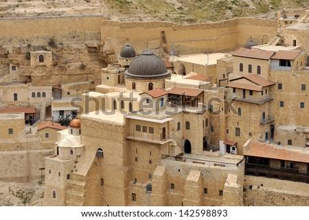 Mar Saba convent buildings, Israel. - stock photo