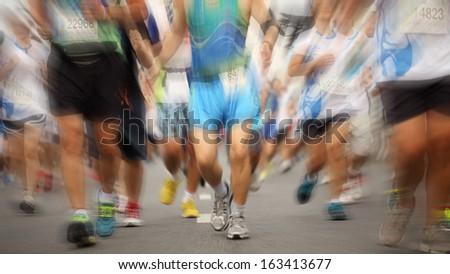 Marathon people running in city for health. - stock photo