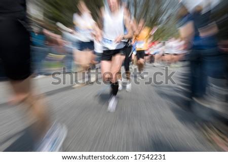 Marathon racer. Blur from the original shot - stock photo