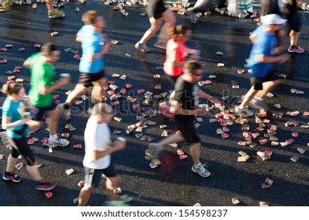 Marathon runners. - stock photo