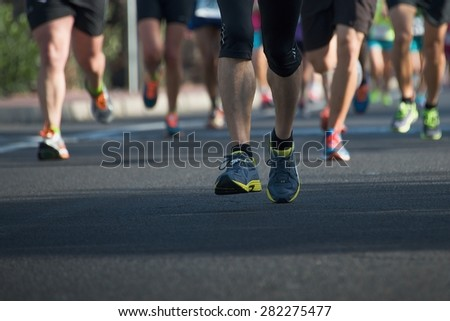 Marathon runners - stock photo