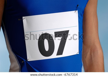 Marathon runners entry number. - stock photo