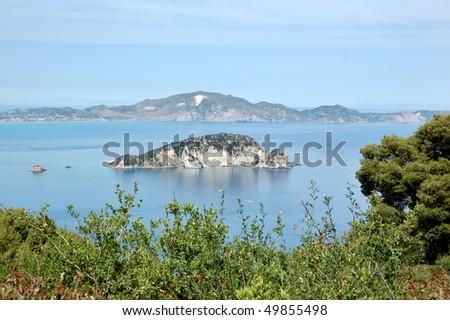 Marathonisi island where the caretta sea turtle lays its eggs. Zakynthos, Greece. - stock photo