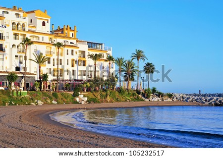 MARBELLA, SPAIN - MARCH 13: Puerto Banus on March 13, 2012 in Marbella, Spain. Puerto Banus is visited annually by nearly 5 million people and its marina has berths for 915 boats - stock photo