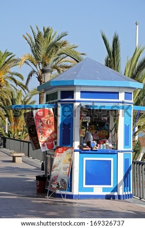 MARBELLA, SPAIN - SEPTEMBER 26, 2011 - Sweet/snack kiosk along the promenade, Marbella, Costa del Sol, Malaga Province, Andalucia, Spain, Western Europe, September 26, 2011. - stock photo