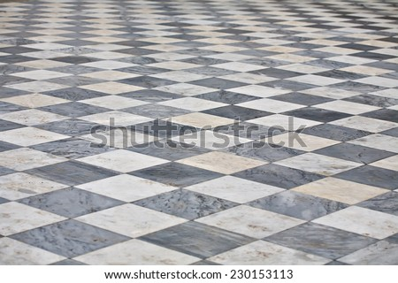 marble black and white square floor pattern perspective view - stock photo