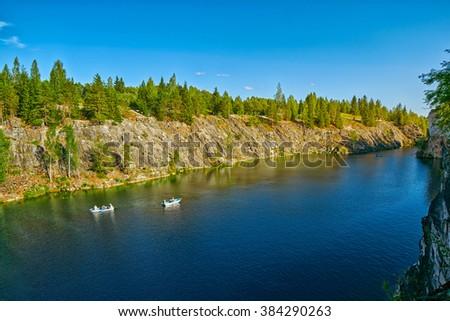 Marble Canyon in Ruskeala Karelia at Dawn - stock photo