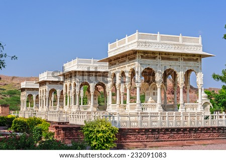Marble cenotaphs of Marwar Kings, Jaswant Thada, Jodhpur, Rajasthan, India - stock photo