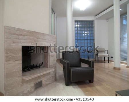 marble fireplace - stock photo