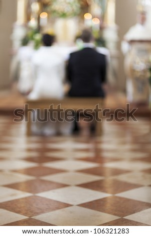 marble floor in a church during a wedding - stock photo