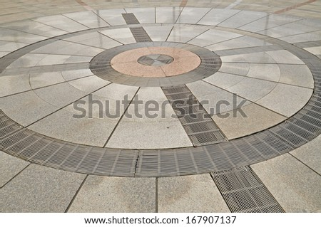 Marble floor in the city square  - stock photo