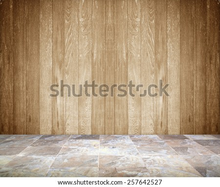 Marble floors wooden wall - stock photo