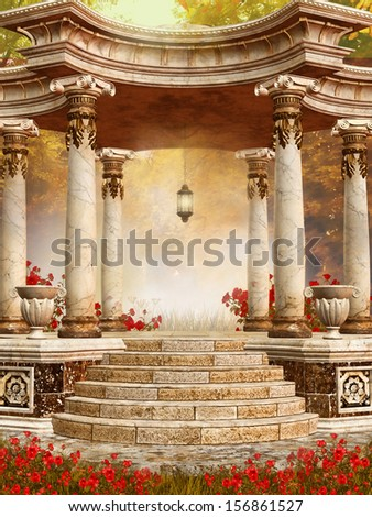 Marble gazebo with red autumn flowers in the forest  - stock photo
