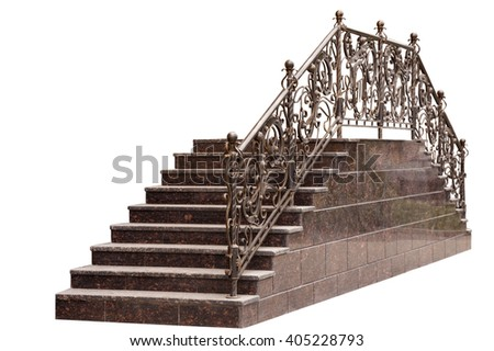 marble ladder with a metal handrail isolated on a white background - stock photo