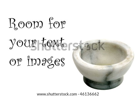 marble mortar and pestle isolated on white with room for your text or images - stock photo