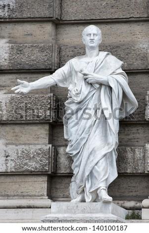 Marble roman statue: Cicerone - stock photo