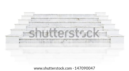 marble stair isolated on white - stock photo