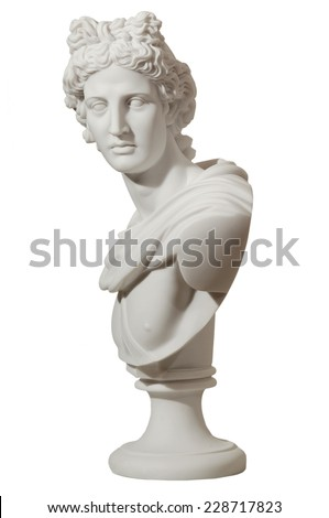 marble statue of a man on an isolated background - stock photo