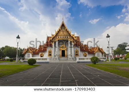 Marble Temple (Wat Benchamabophit Dusitvanaram), major tourist attraction, Bangkok, Thailand. This is a Buddhist temple, it is one of Bangkok's most beautiful temples and a major tourist attraction. - stock photo