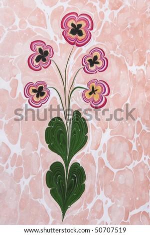 Marbled paper artwork background - Flower - stock photo