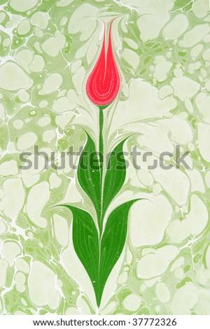 Marbled paper artwork - Tulip - stock photo