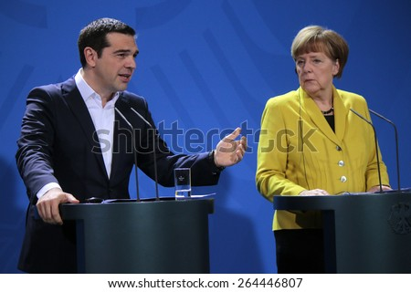MARCH 23, 2015 - BERLIN: Greek Prime Minister Alexis Tsipras, German Chancellor Angela Merkel - meeting in the Chanclery in Berlin. - stock photo