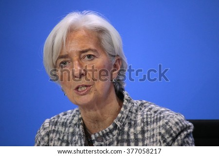 MARCH 11, 2015 - BERLIN: the Managing Director of the International Monetary Fund (IMF), Christine Lagarde at a press conference after a meeting in the Chanclery, Berlin. - stock photo