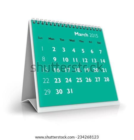March 2015 Calendar - stock photo