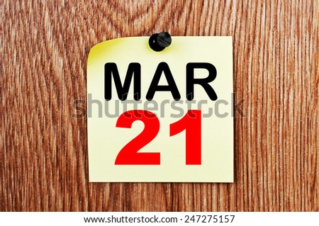 March 21 Calendar. Part of a set - stock photo