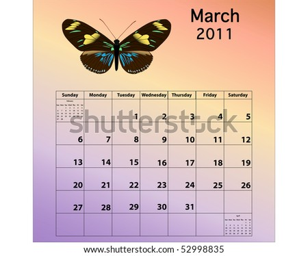 March 2011 calendar with butterfly - stock photo